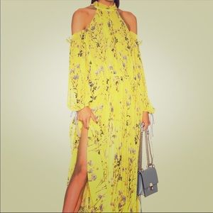 Self-Portrait pleated yellow floral maxi dress
